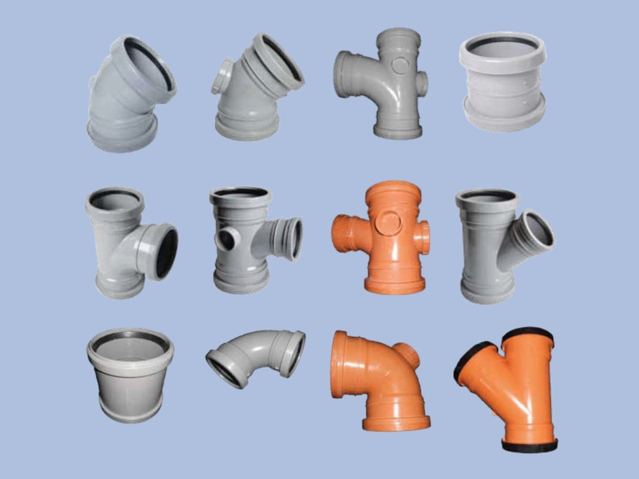 Group of Rubber Push Double Socket fittings by Juma Plastic, Dubai UAE.